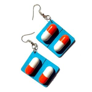 Faux Capsule Pill Blue Packet Earrings